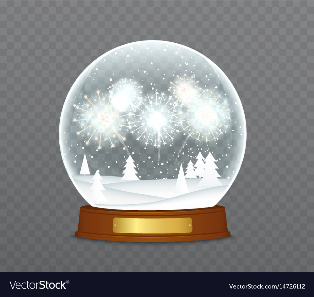 Christmas snow globe with fireworks snowbound