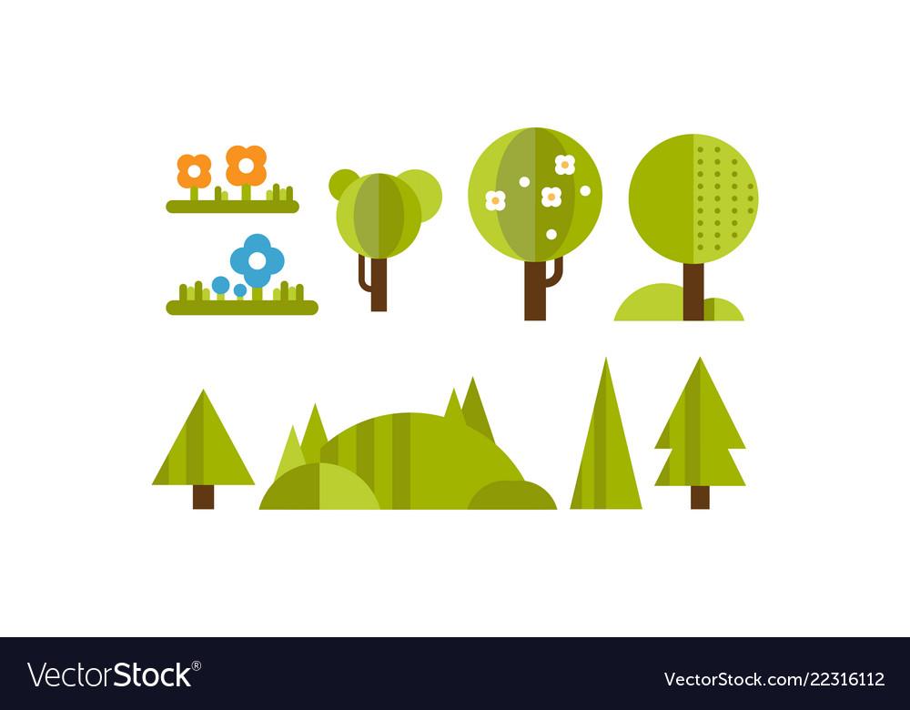 Cute green plants and trees of fantastic shape set