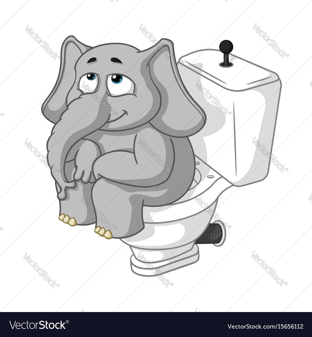 Elephant sitting on the toilet cartoon