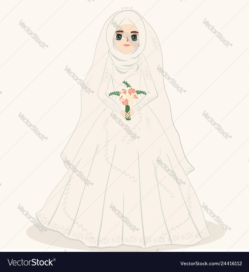 Muslim bride muslim girl wears wedding dress