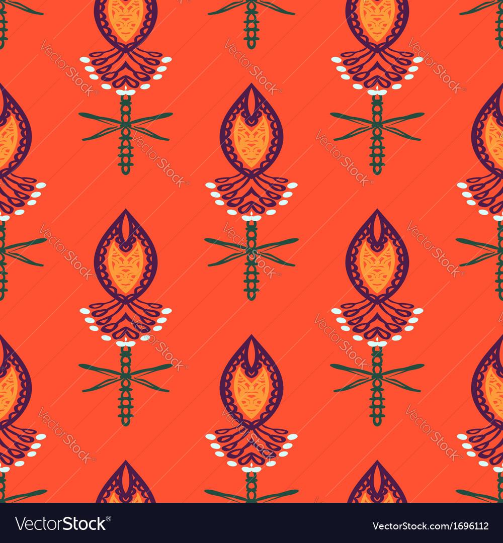 Pattern with bold stylized Indian motifs