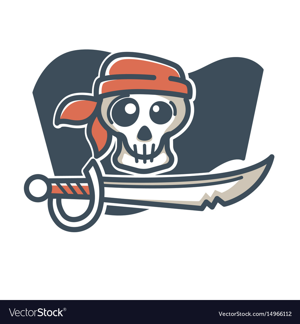 Pirate skull with saber
