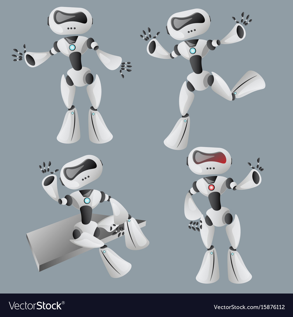 Realistic white robot in different poses vector image