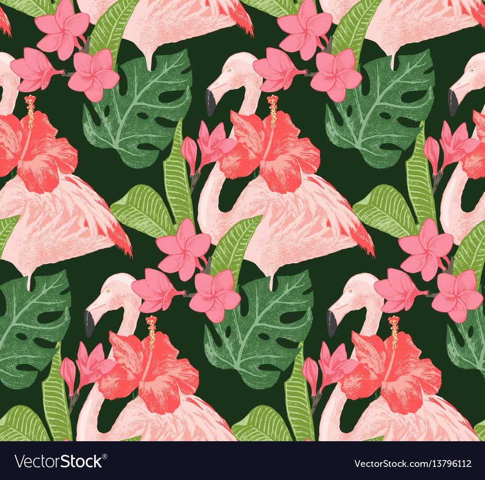 Seamless pattern with flamingoes and flowers vector