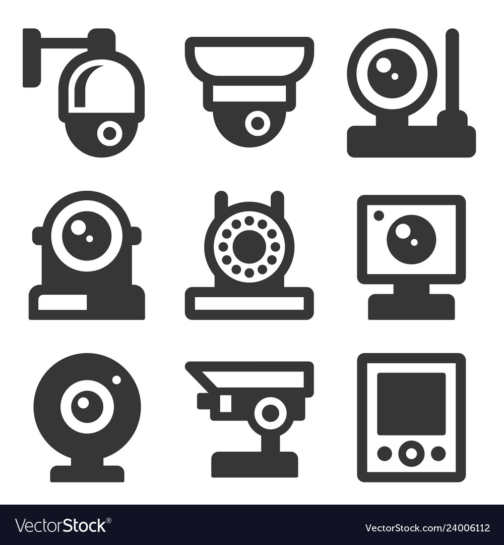 Security camera icons set on white background