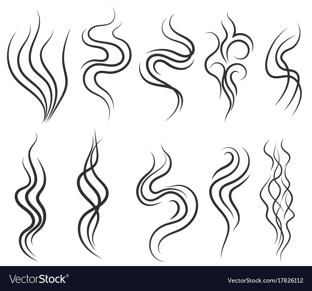 Smoke and steam smell lines gas icon aroma flow vector image