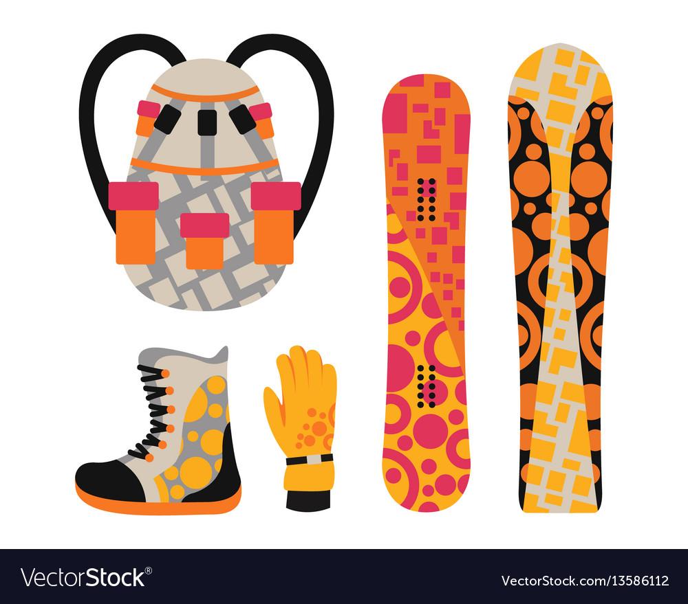 Snowboard sport clothes and tools elements