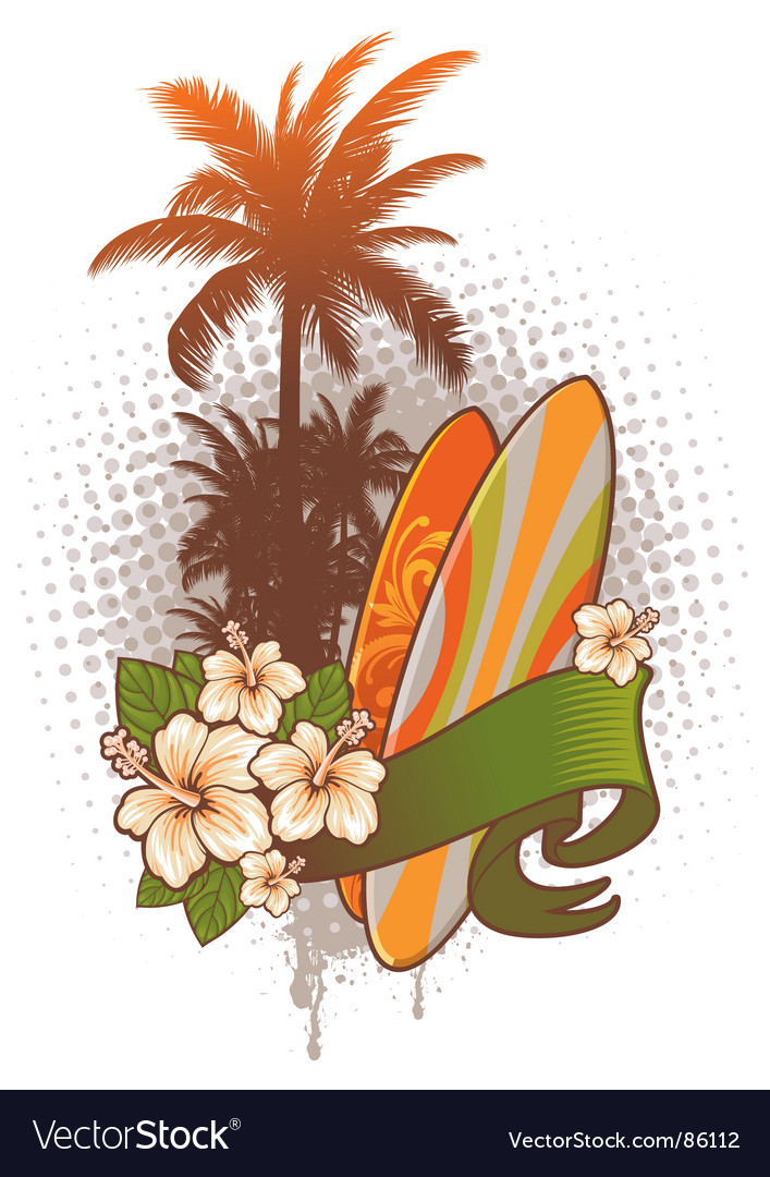 Surfboards hibiscus and palm trees
