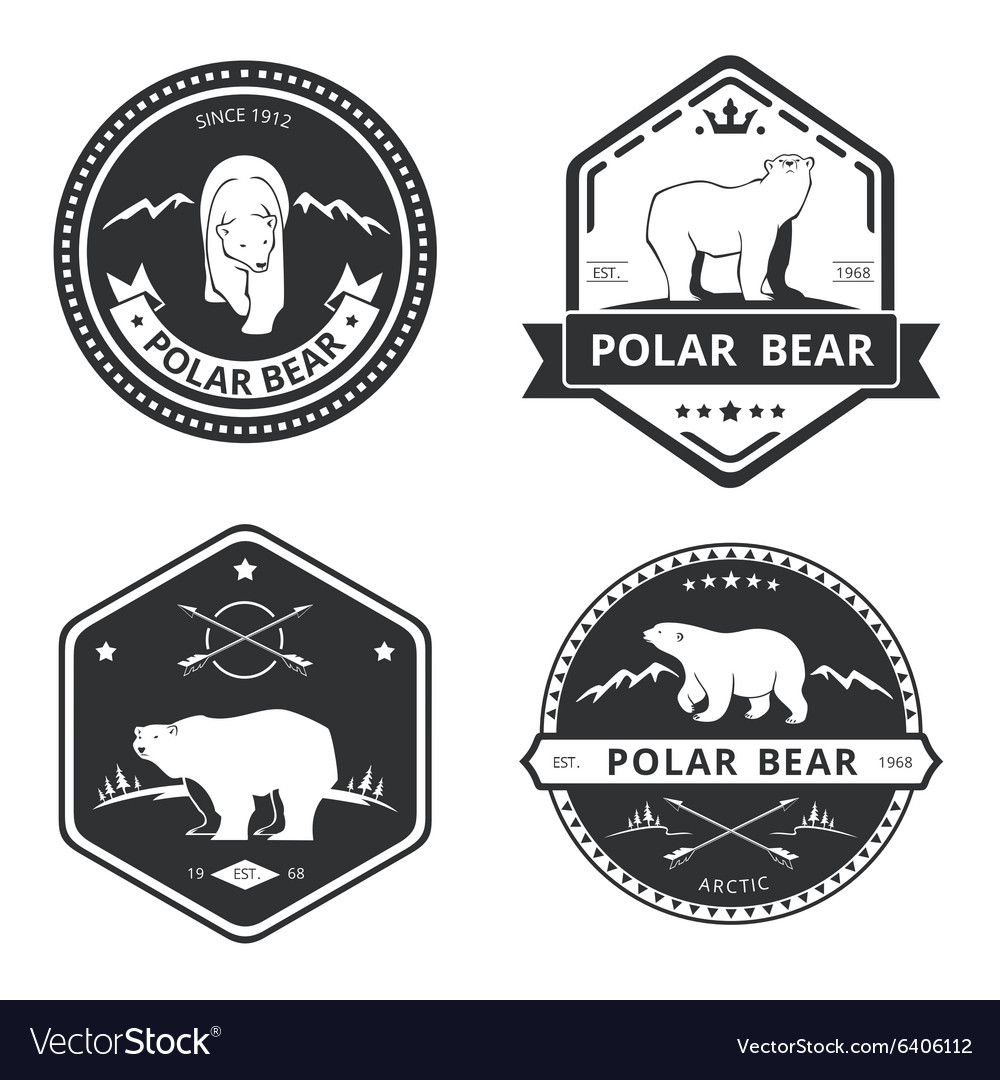 Vintage bear icons mascot emblems and