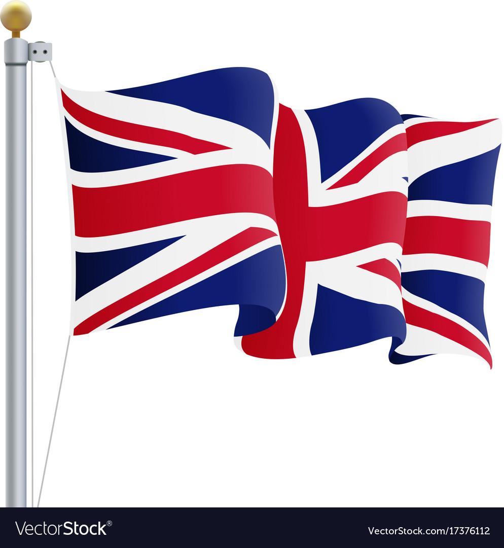 waving united kingdom flag uk flag isolated on a vector image rh vectorstock com british flag vector black and white british flag vector black and white