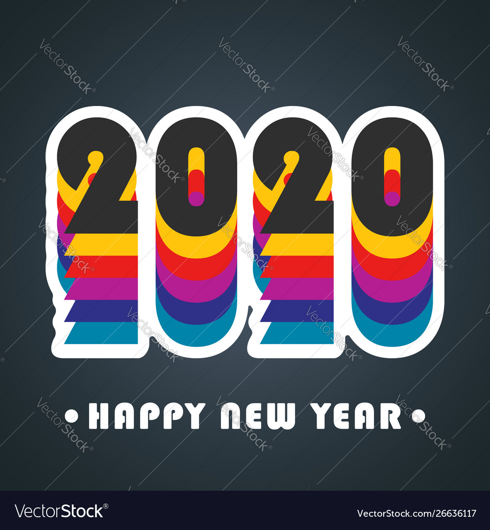 2020 happy new year background colorful design