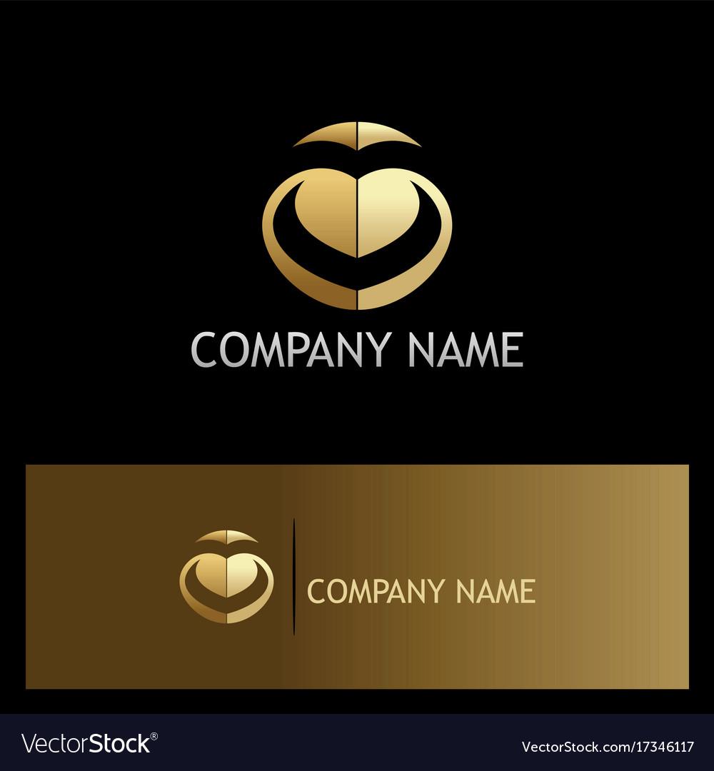 Abstract letter v love gold logo vector image