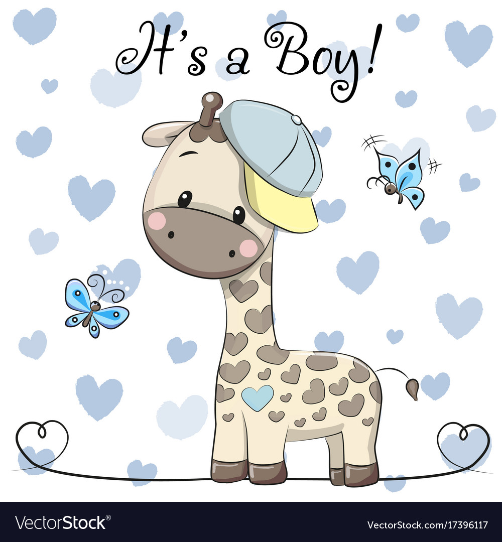 Baby Shower Greeting Card With Cute Giraffe Boy Vector Image