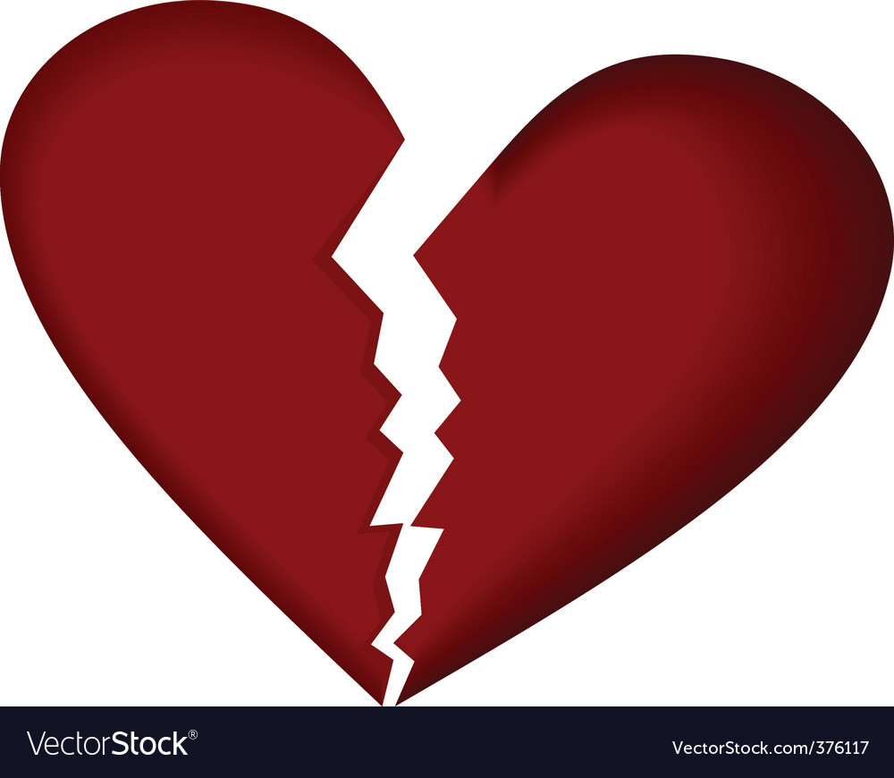 broken heart royalty free vector image vectorstock rh vectorstock com broken heart emoji vector broken heart vector png