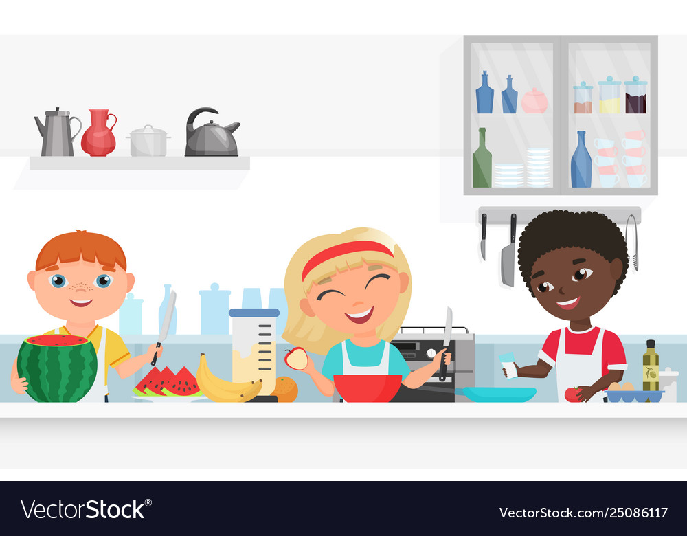 Cute boy and girl kids chef cooking in kitchen