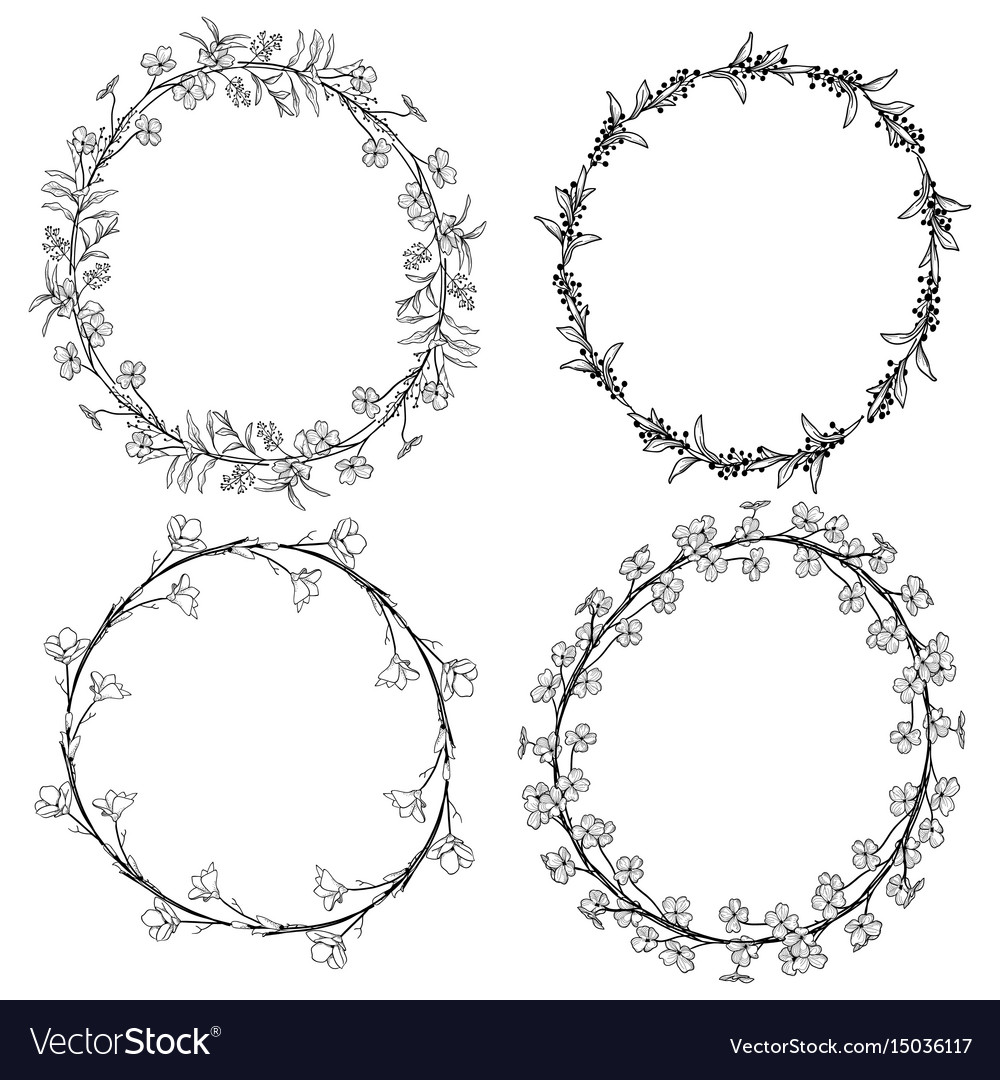 Doodle wreaths with branches herbs plants and