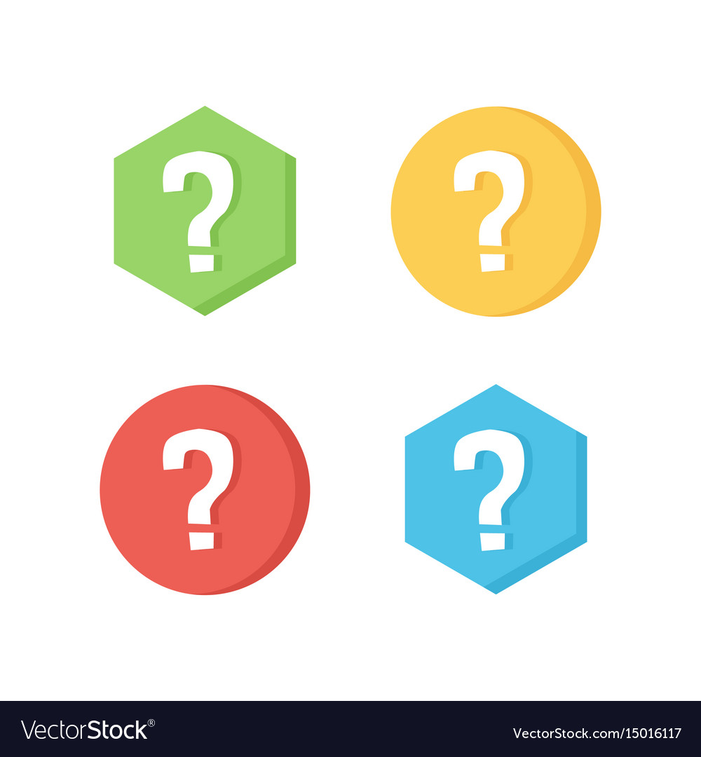 Flat design icons with question marks