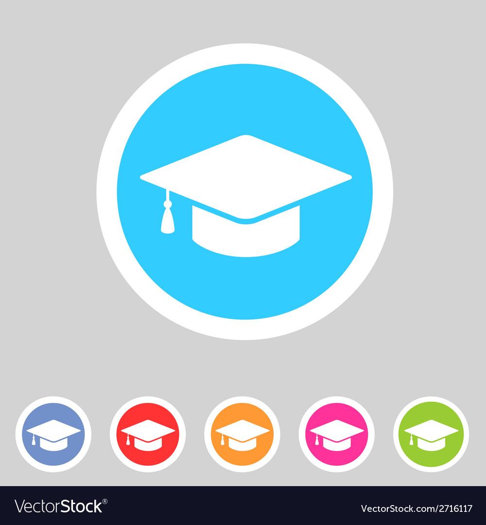 Flat graduation cap icon vector image