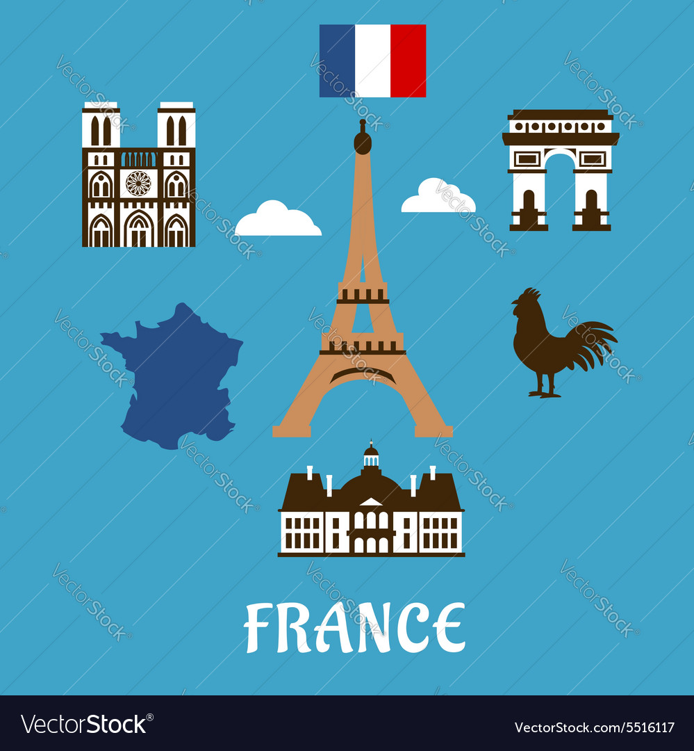 France flat travel and landmark icons
