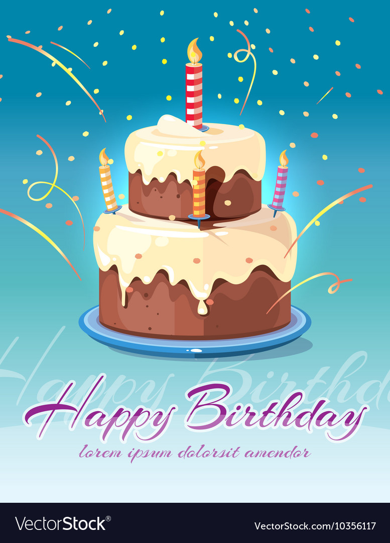 Happy birthday background with tasty cake and