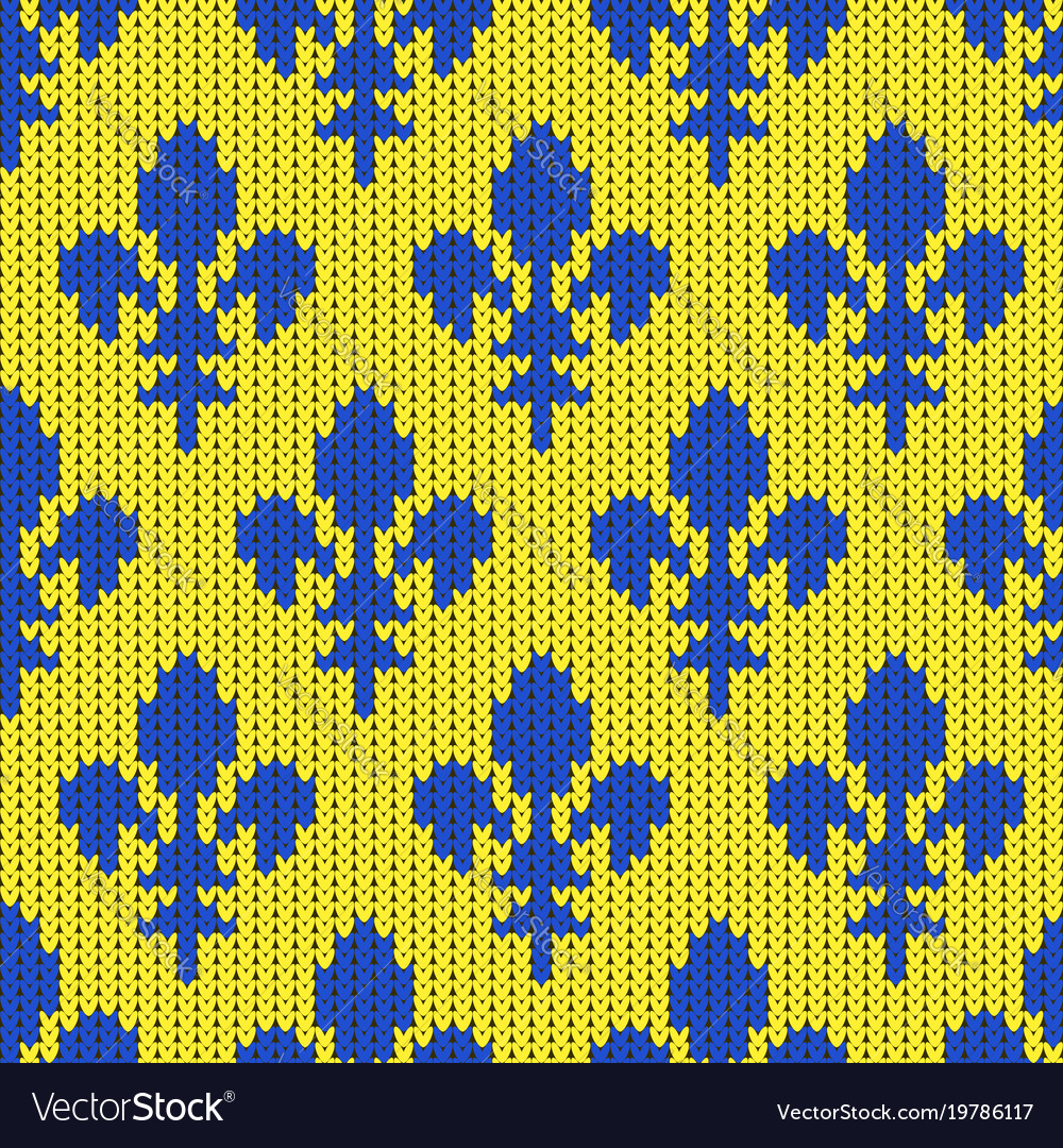 Knitted lily bourbon blue on yellow vector image