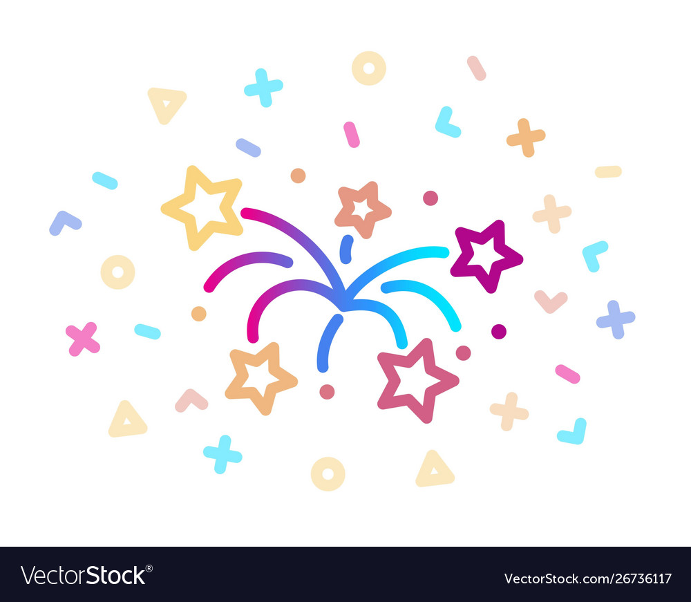 Linear colored icon fireworks symbol of