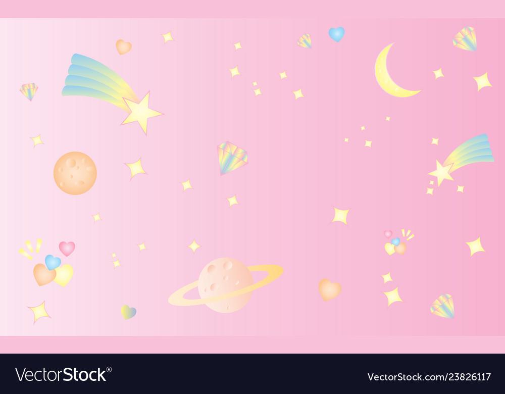 Pattern star space sweet cute pastel pink