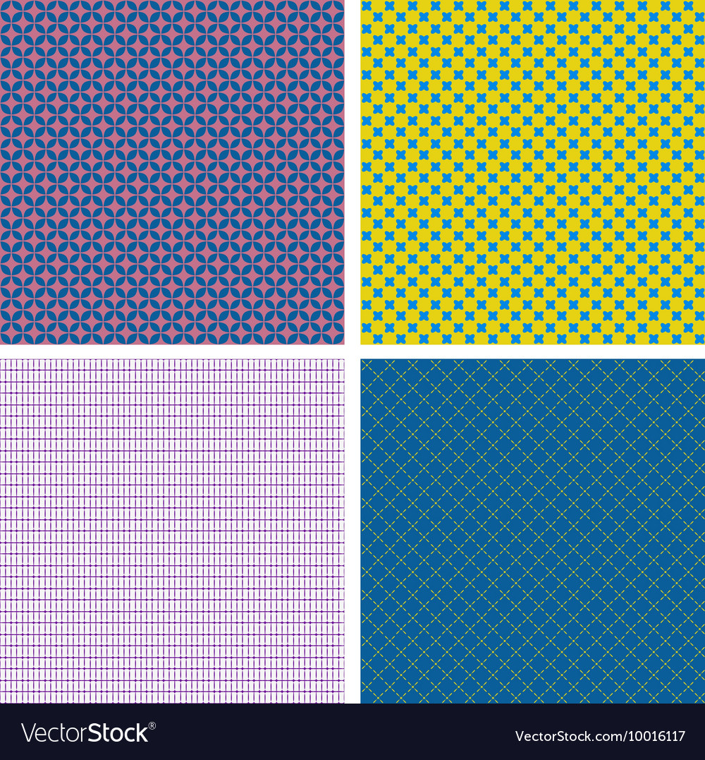 Set of 4 abstract geometrical seamless patterns vector image
