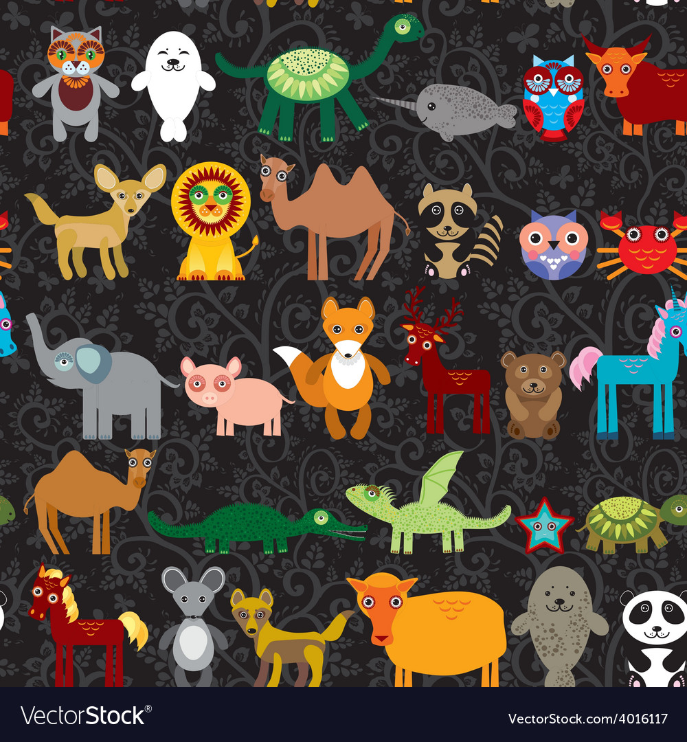 Set of funny cartoon animals character on black