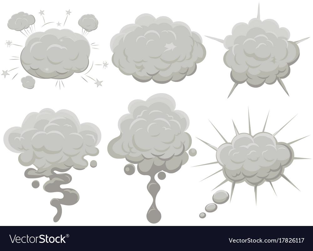 Smoke cloud set explosion dust puff cartoon frame