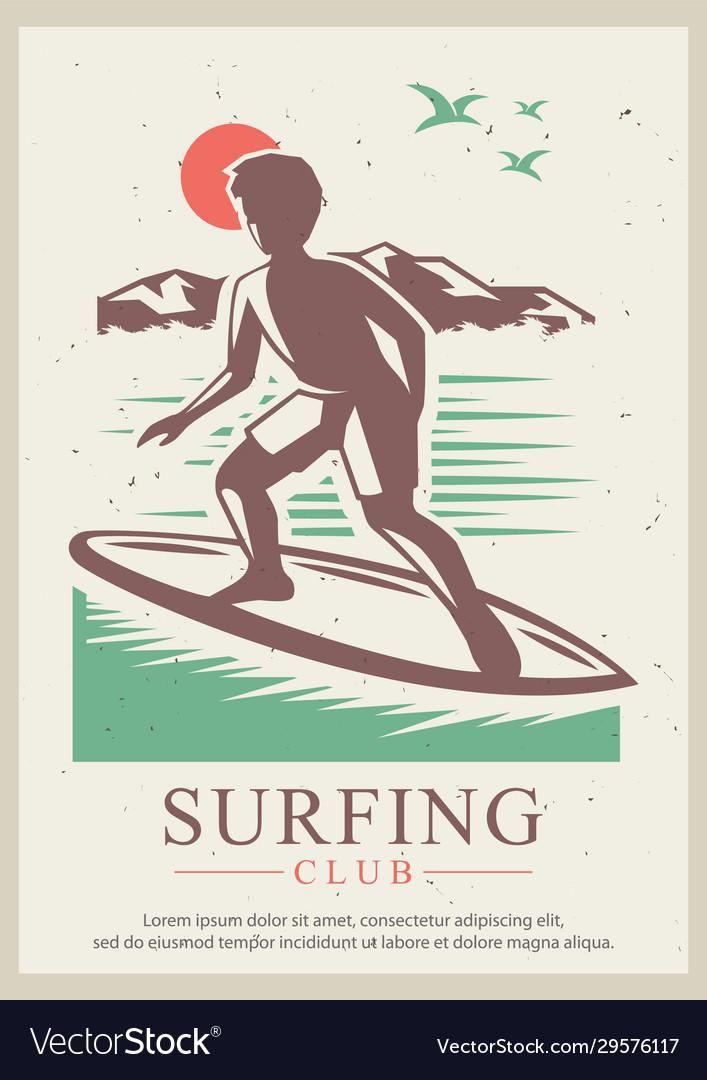 Surfing club retro poster design template