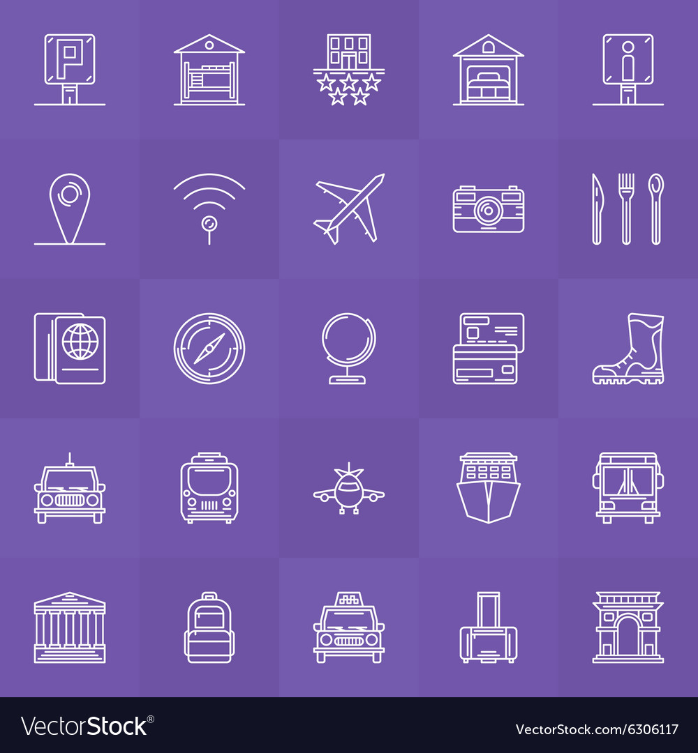 Travel linear icons set