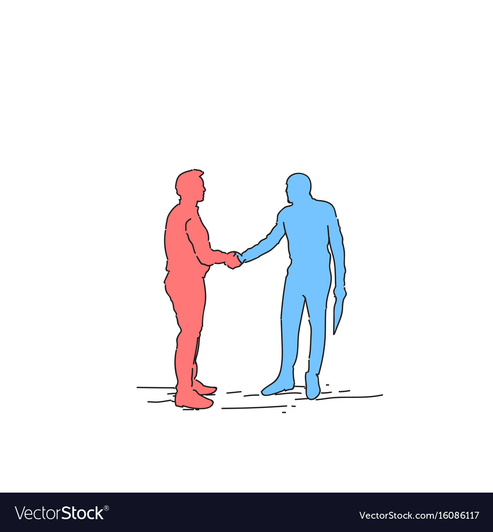 Two silhouette businessman hand shake business