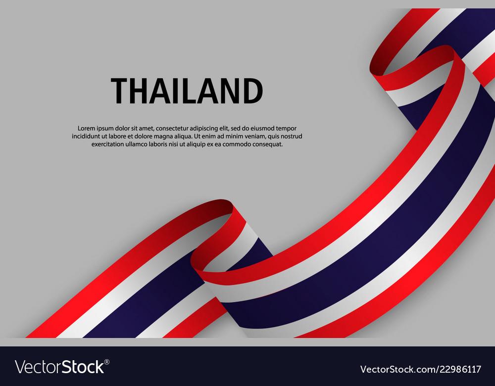 Waving ribbon with flag