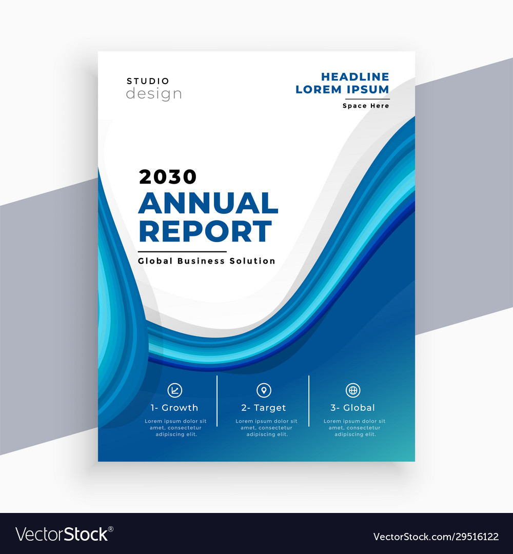 Abstract blue wave business annual report template
