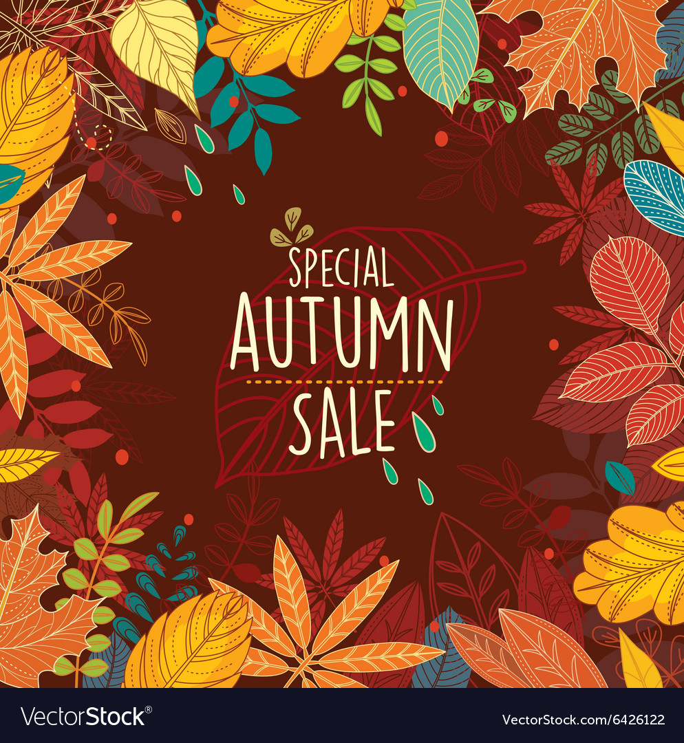 Autumn special sale poster with leaves