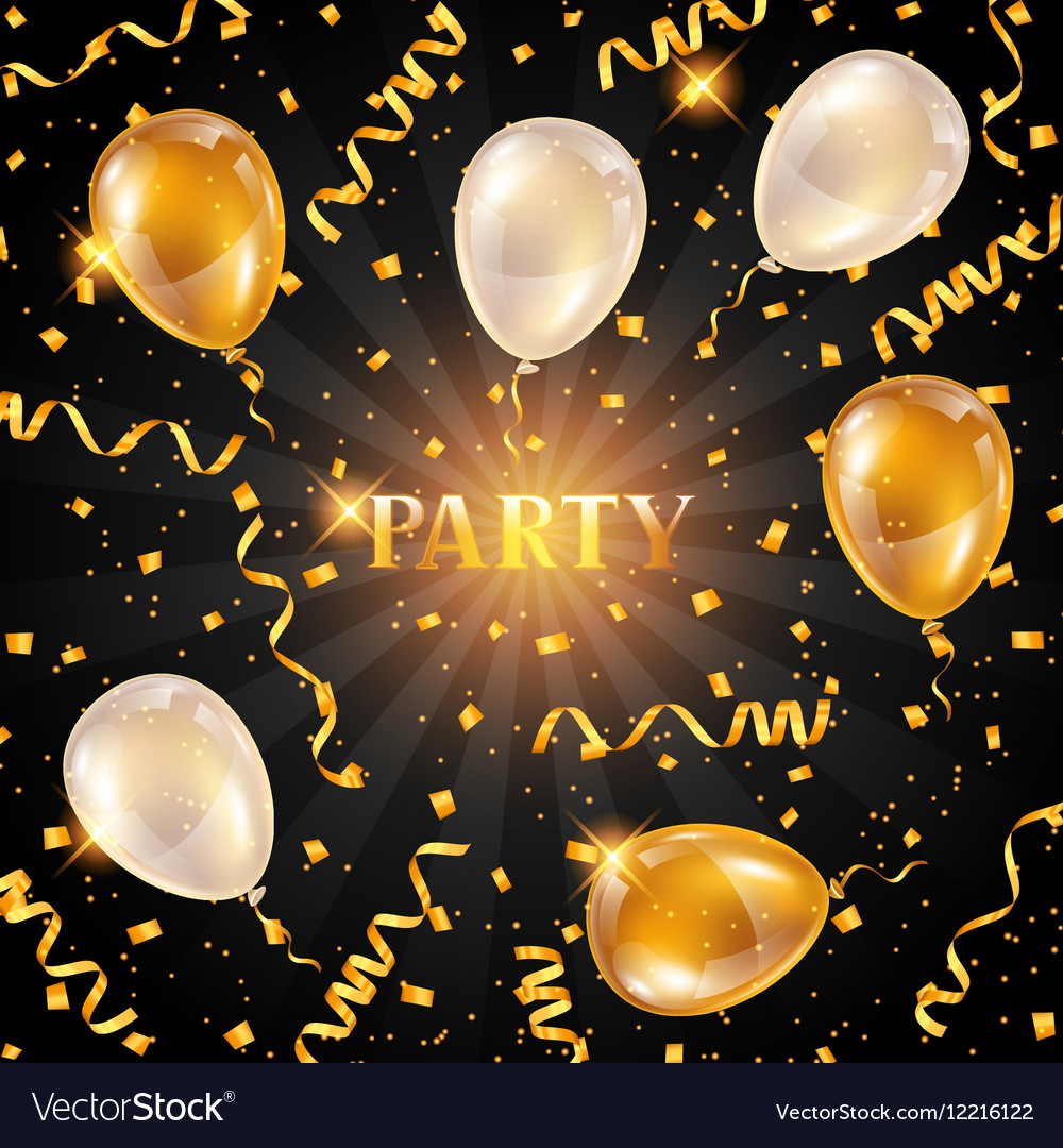 Celebration party background with golden balloons