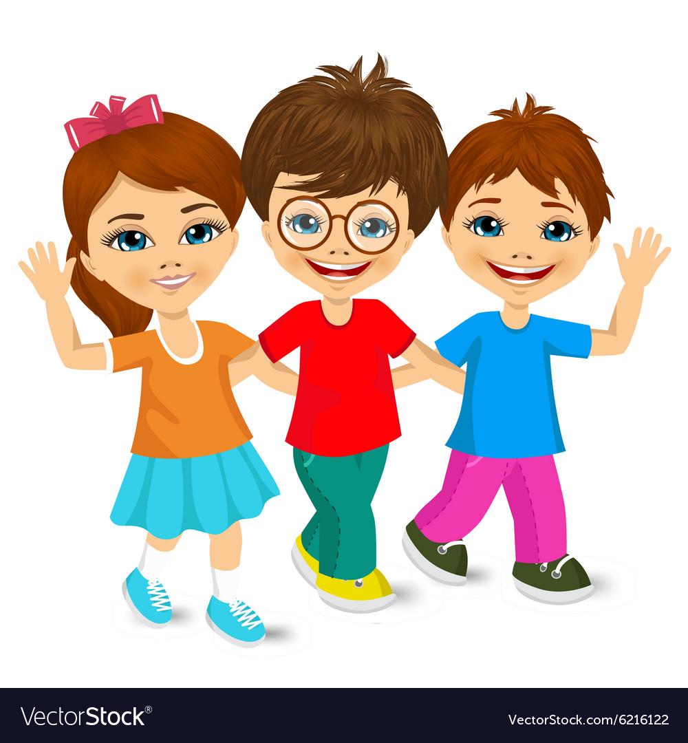 Children Kids Walking To School Royalty Free Vector Image