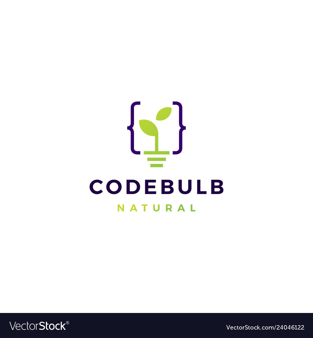 Code bulb leaf sprout logo icon