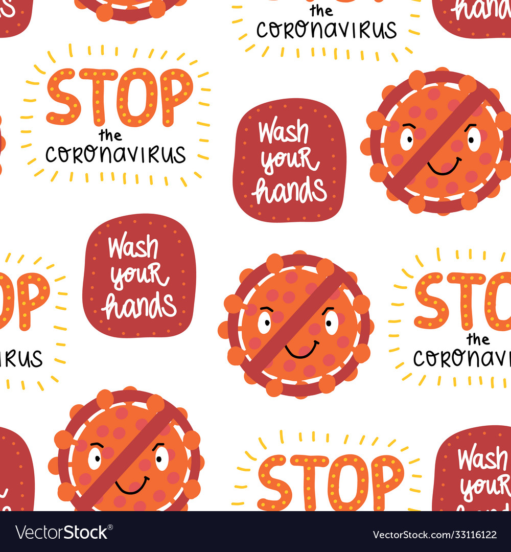 Corona virus letterings and icons seamless