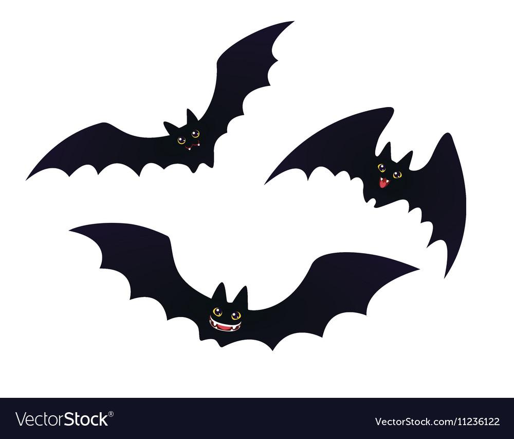 Cartoon Bats: Cute Flying Bats In Flat Cartoon Style Royalty Free Vector