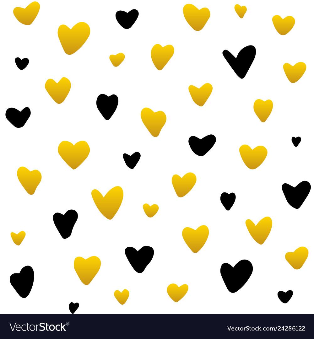 Gold black hearts handdrawn seamless pattern