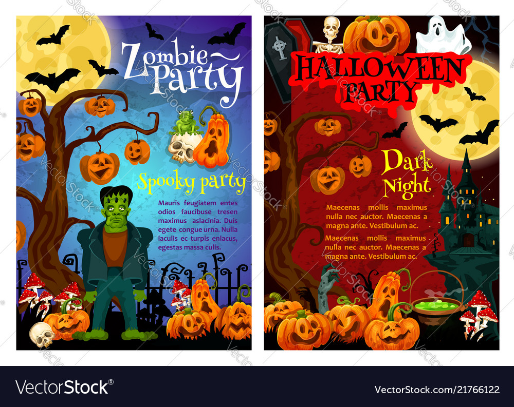 Halloween zombie party invitation poster design Vector Image