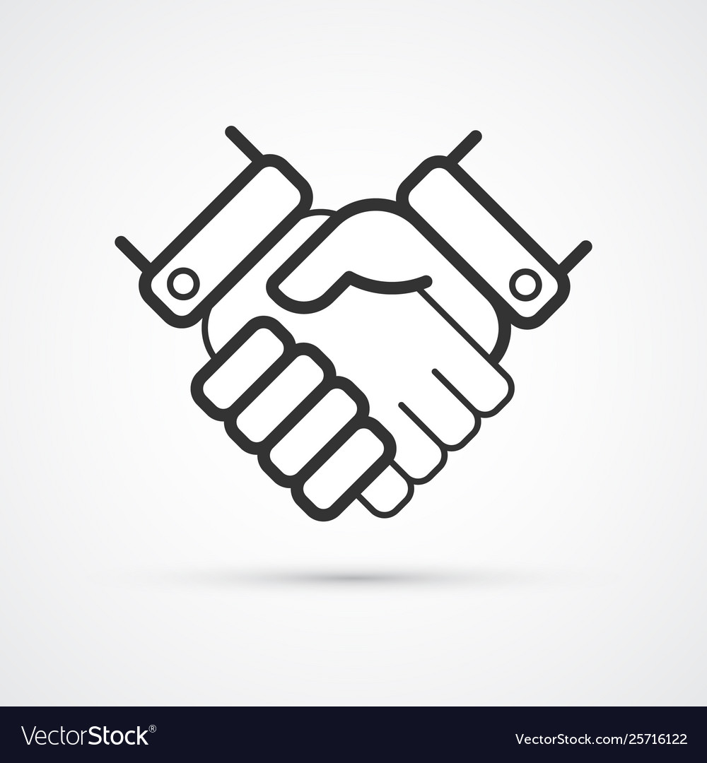 Handshake partnership business flat line trendy