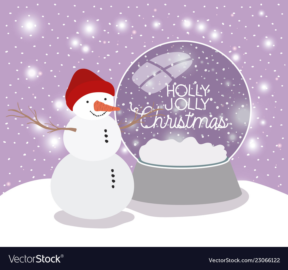 Mery Christmas.Mery Christmas Card With Snowman And Sphere Vector Image
