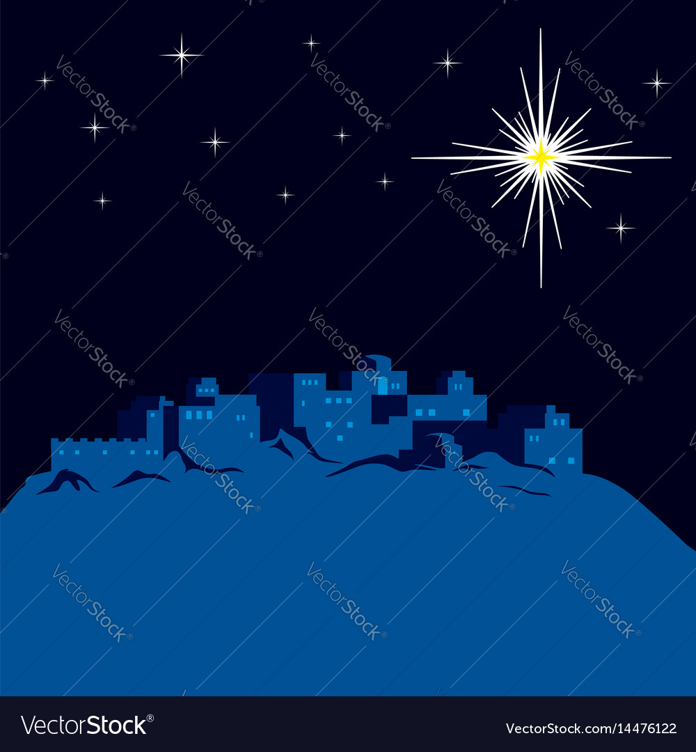 Night bethlehem and christmas star