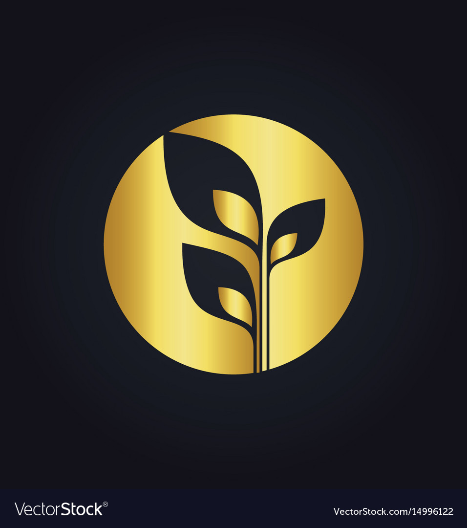 Plant leaf gold tree ecology round logo