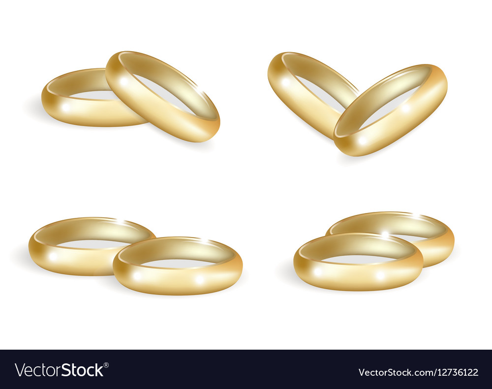 Realistic wedding gold rings set 3d bands