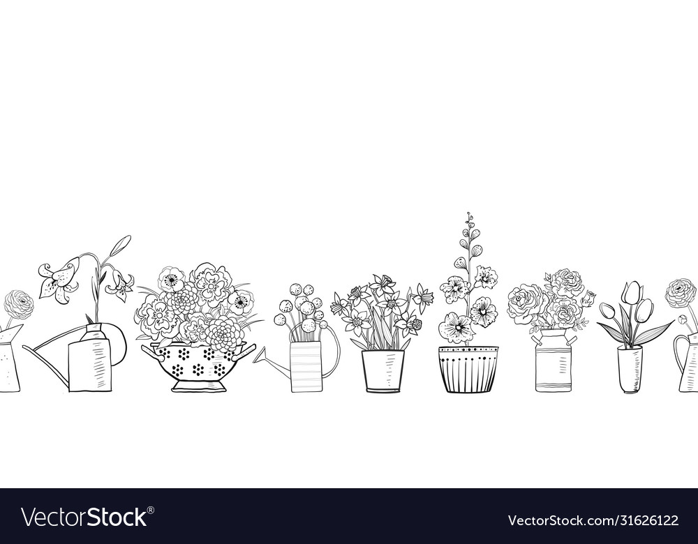 Seamless pattern with garden flowers bouquets on