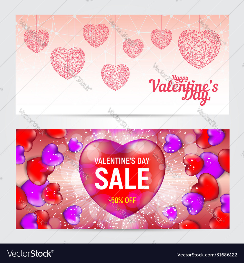 Set happy valentines day greeting cards or